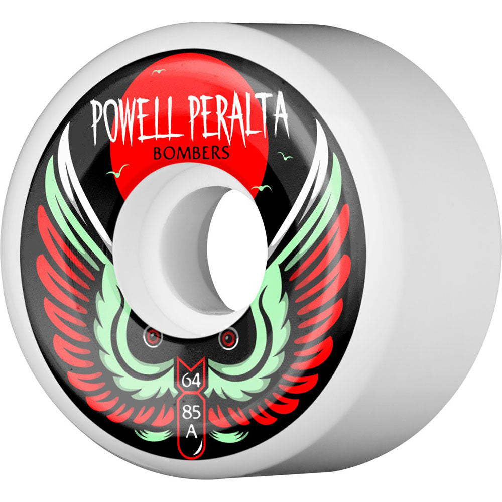 Powell Peralta Bomber III Skateboard Wheels - White - 64mm 85a (Set of 4)