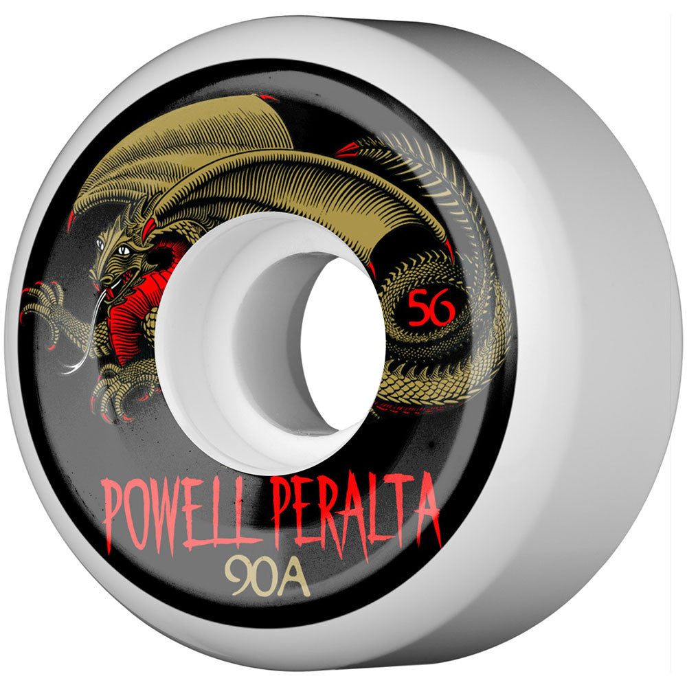 Powell Peralta Oval Dragon III Skateboard Wheels - White - 56mm 90a (Set of 4)