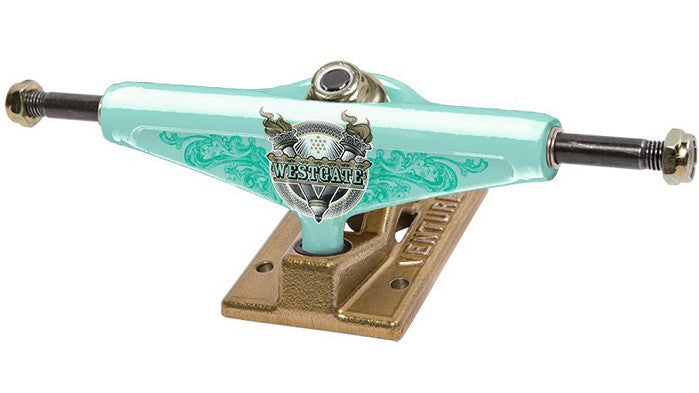 Venture Westgate Liberty Low - Teal/Gold - 5.0 - Skateboard Trucks (Set of 2)