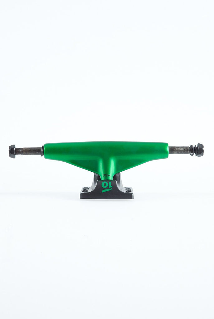 Tensor Magnesium Low Colored Skateboard Trucks - 5.0 - Green/Black (Set of 2)