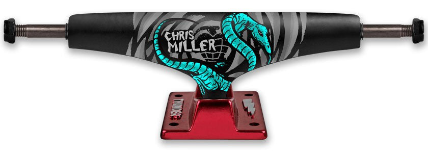 Thunder Miller Lizard 2 Light High Skateboard Trucks - 149mm - Black/Red (Set of 2)