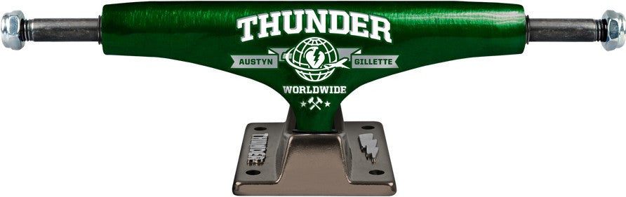 Thunder Gillette Jetset Lights Low Skateboard Trucks - 145mm - Green/Black (Set of 2)