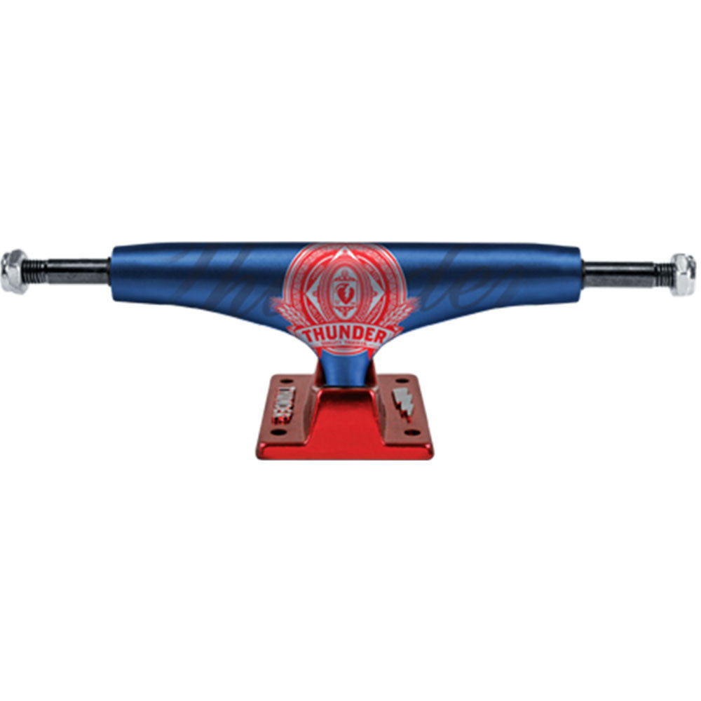 Thunder Premium Lights High Skateboard Trucks - Blue/Red - 147mm (Set of 2)