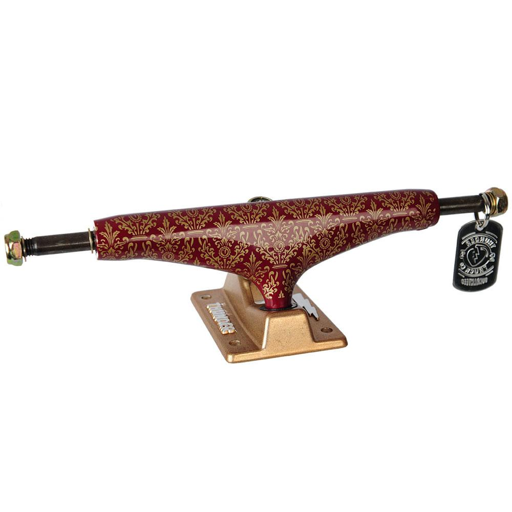 Thunder Bronze Elite Hollow Lights Skateboard Trucks - Burgundy/Gold - 149mm (Set of 2)