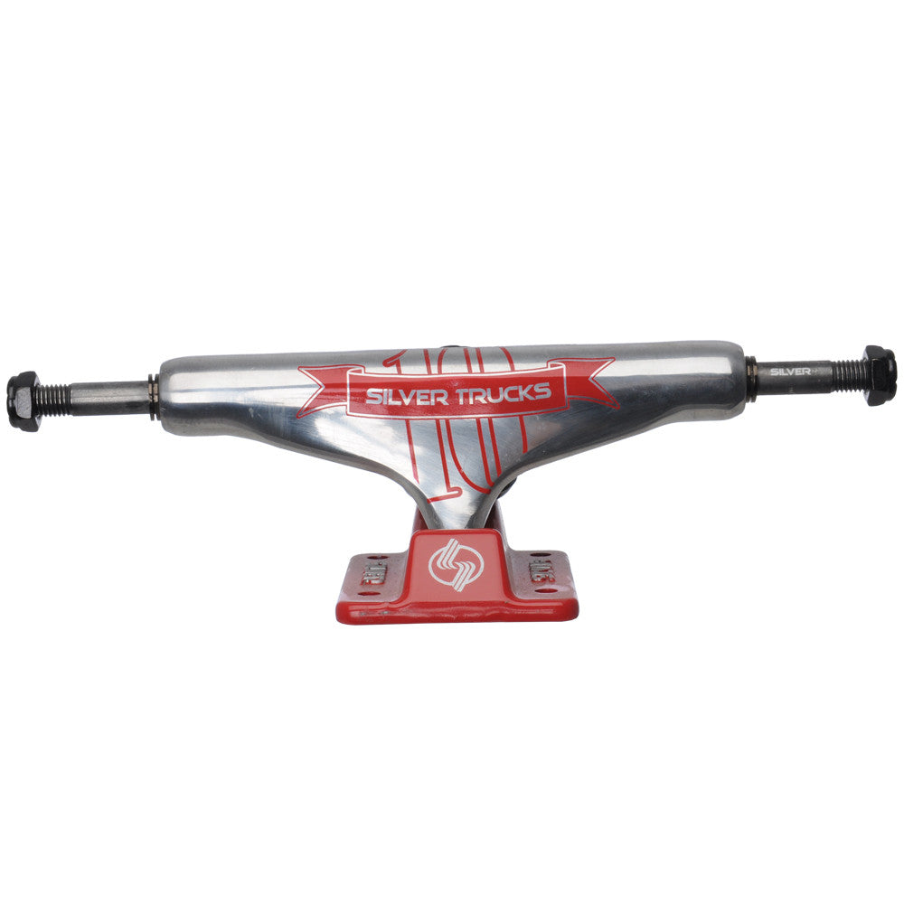 Silver M Class 10 Year Skateboard Trucks - 8.0 - Silver/Red (Set of 2)