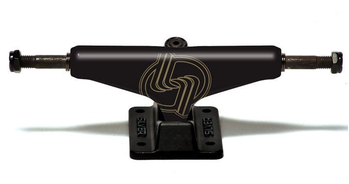 Silver M Class Hollow Skateboard Trucks - 8.0 - Black/Gold (Set of 2)