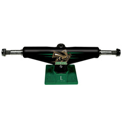 Silver L Class Pro Biebel Skateboard Trucks - Black/Green - 7.75in (Set of 2)