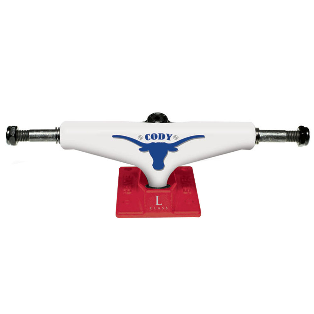 Silver L Class Pro Cody Skateboard Trucks - White/Red - 8.25in (Set of 2)