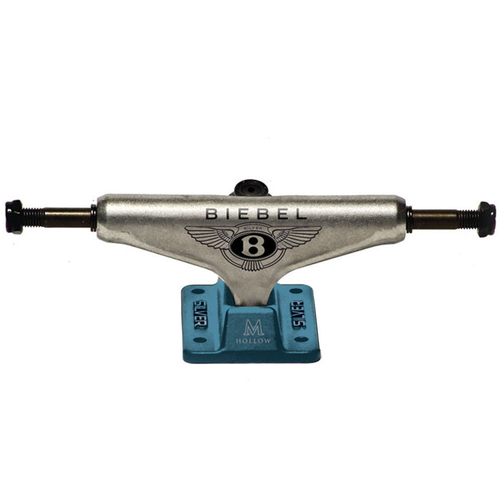 Silver M Class BB Bentley Skateboard Trucks - Raw/Teal - 8.0in (Set of 2)