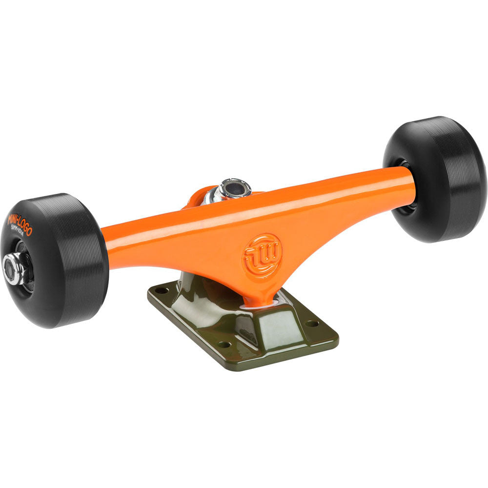 "Mini Logo Trucks - 7.63"" Orange/Green - ML Bearings - 53mm 90a Black Wheels (Set of 2)"