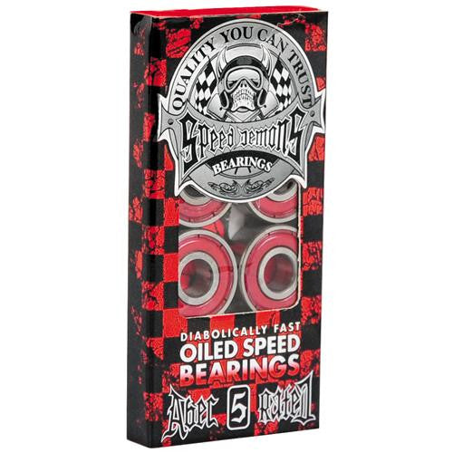 Speed Demons Skateboard Bearings - Abec 5 - Red (8 PC)