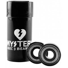 Mystery Bearings Skateboard Bearings - Abec 3 - Black/Silver (8 PC)