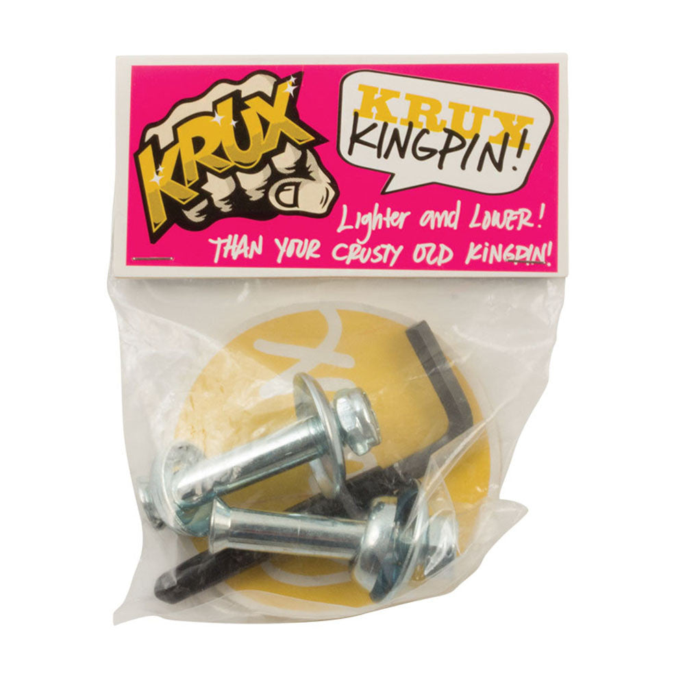 Krux Hollow Downlow Kingpin Skateboard Mounting Hardware - Silver