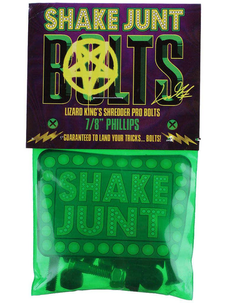 "Shake Junt Lizard King Pro Phillips Skateboard Mounting Hardware - 7/8"" - Black/Green"