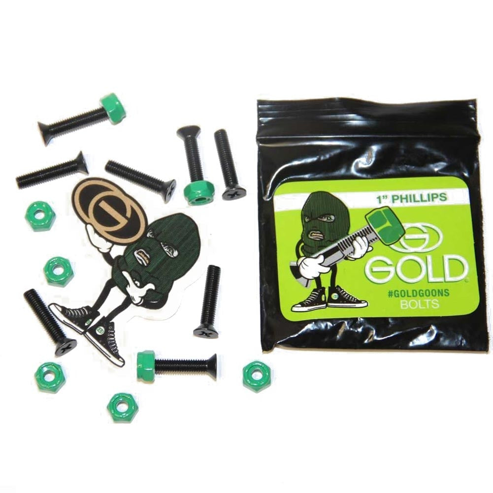 "Gold Bolts W/Nuts Phillips Skateboard Mounting Hardware - 1"" - Black/Green"