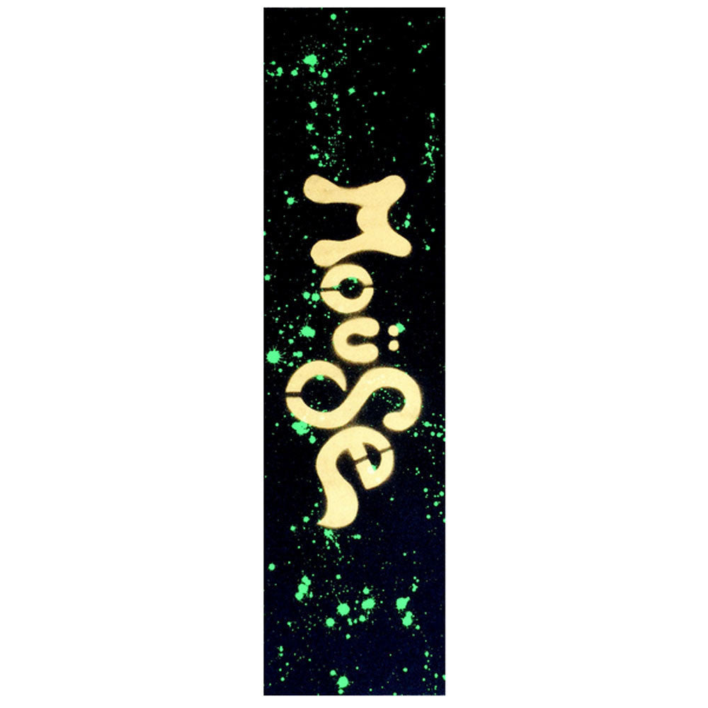 Mob Mouse Neon Green Dripped Hand Sprayed 9in x 33in Skateboard Griptape (1 Sheet)