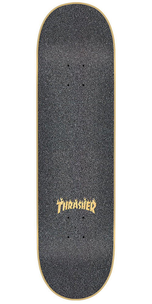 Mob Laser Cut Thrasher Flame Logo  9in x 33in Skateboard Griptape - Black (1 Sheet)