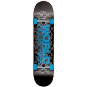 World Industries Stacked Checker Blue Logo Complete Skateboard - 7.75 - Black/Blue