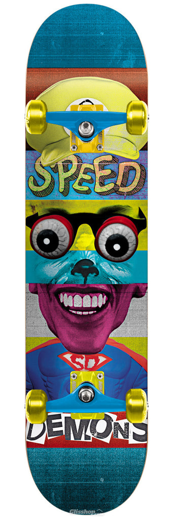 Speed Demons Face Smash Super Brother Complete Skateboard - 7.6 - Multi