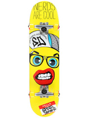Speed Demons Nerds Are Cool PP Youth Complete Skateboard - 7.3 - Yellow