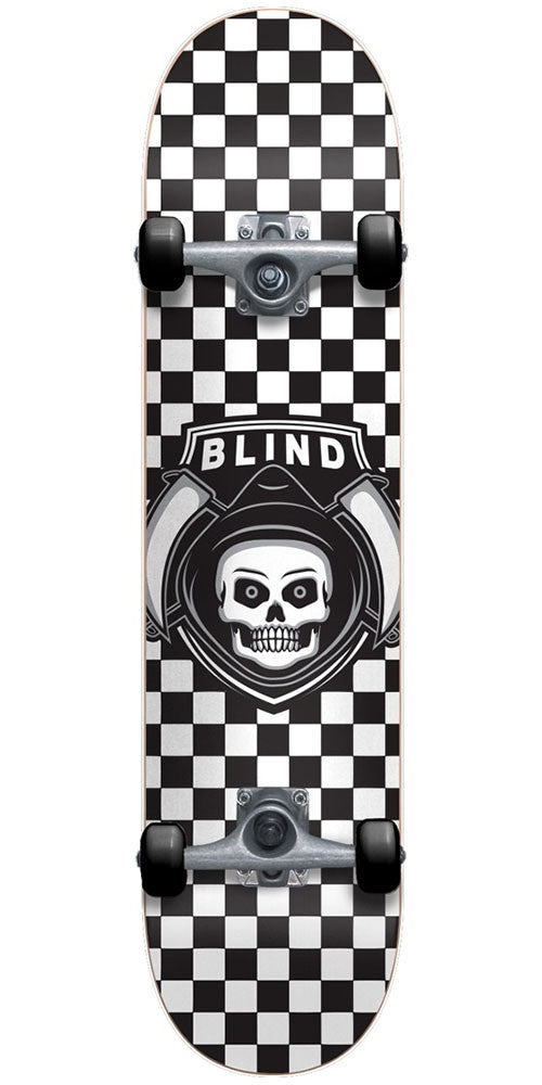 Blind Reaper Checker Complete Skateboard - White/Black - 7.5in