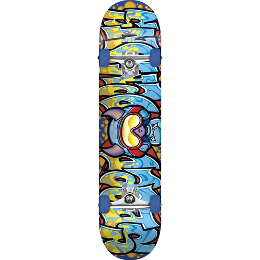Speed Demons Wildstyle Brigade Youth Complete Skateboard - Blue/Yellow - 7.3in