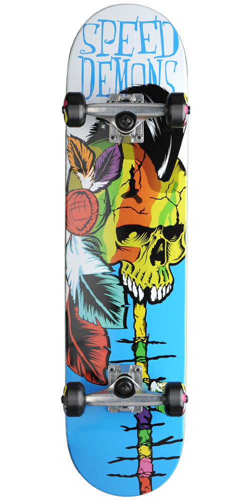 Speed Demons Native Skull PP Complete Skateboard - Brown/Blue - 7.6in