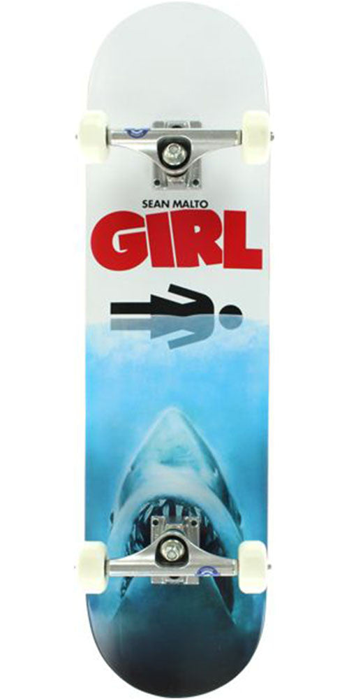 Girl Malto Shark Attack Complete Skateboard - Blue/White - 8.0in x 31.875in