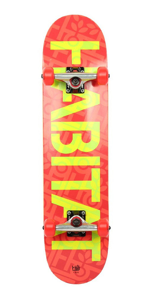 Habitat Stencil Small Complete Skateboard - 7.625 x 31.6 - Red/Yellow