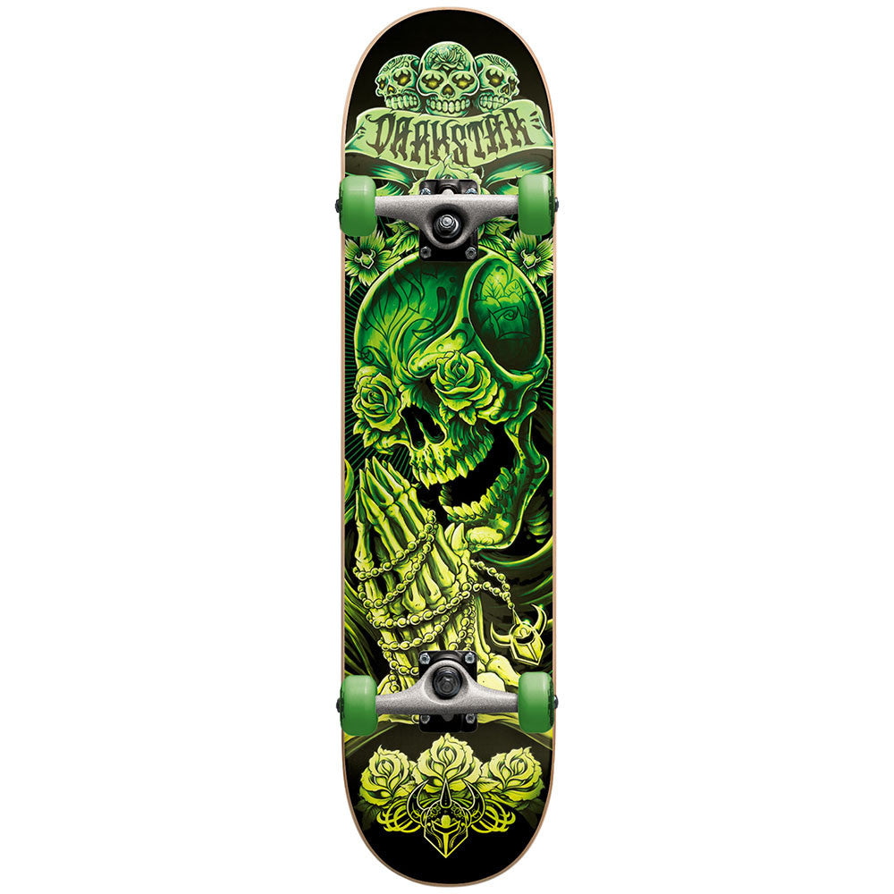 Darkstar Rosary Mid Complete Skateboard - Green/Glow In The Dark - 7.4in x 29.0in