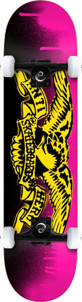 Anti-Hero Stencil Small Complete Skateboard - 7.5 x 31.5 - Pink/Yellow