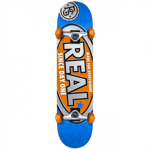 Real Since Day One Small Complete Skateboard - 7.5 x 31.2 - Blue/Orange