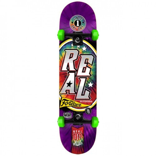 Real Tie Dye Large Complete Skateboard - 8 x 32 - Purple/Green