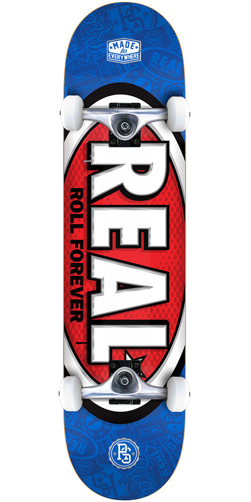 Real Oval Tone Mini Complete Skateboard - Blue - 7.38in x in