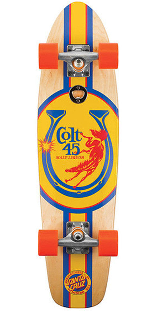 Santa Cruz PBC Colt 45 Full Court Cruzer Complete Skateboard -7.4 x 29.1 - Natural/Orange/Yellow