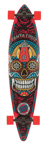Santa Cruz Sugar Skull Pintail Cruzer Complete Skateboard - 9.9 x 43.5 - Red/Multi - Blemished
