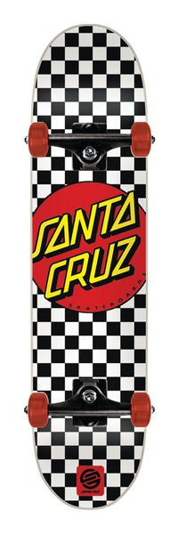 Santa Cruz Check Dot Sk8 Powerply Complete Skateboard - 7.8 x 31.7 - Black/White