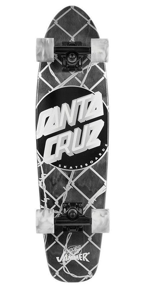 Santa Cruz Barbed Wire Jammer Cruzer - Black/White - 7.4in x 29.1in - Complete Skateboard
