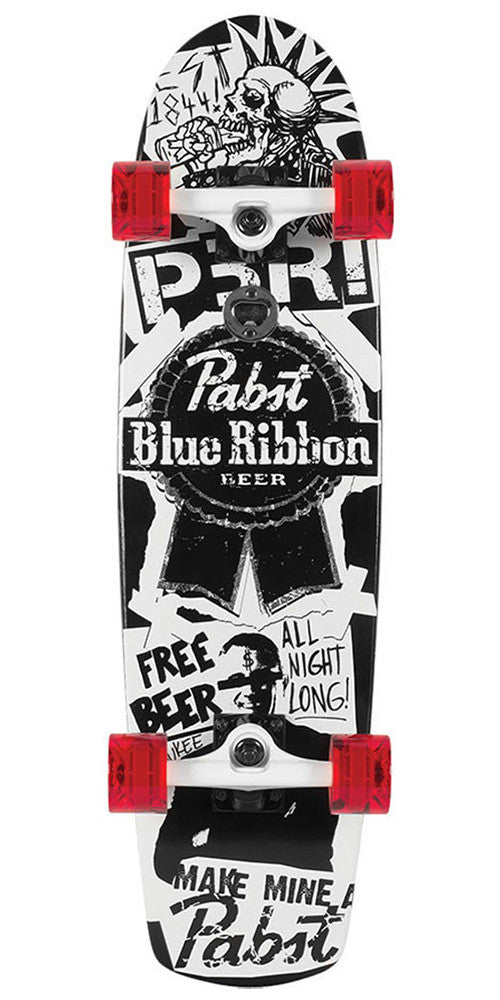 Santa Cruz PBC PBR Flyer Cruzer Complete Skateboard - Black/White - 8.2in x 30.7in