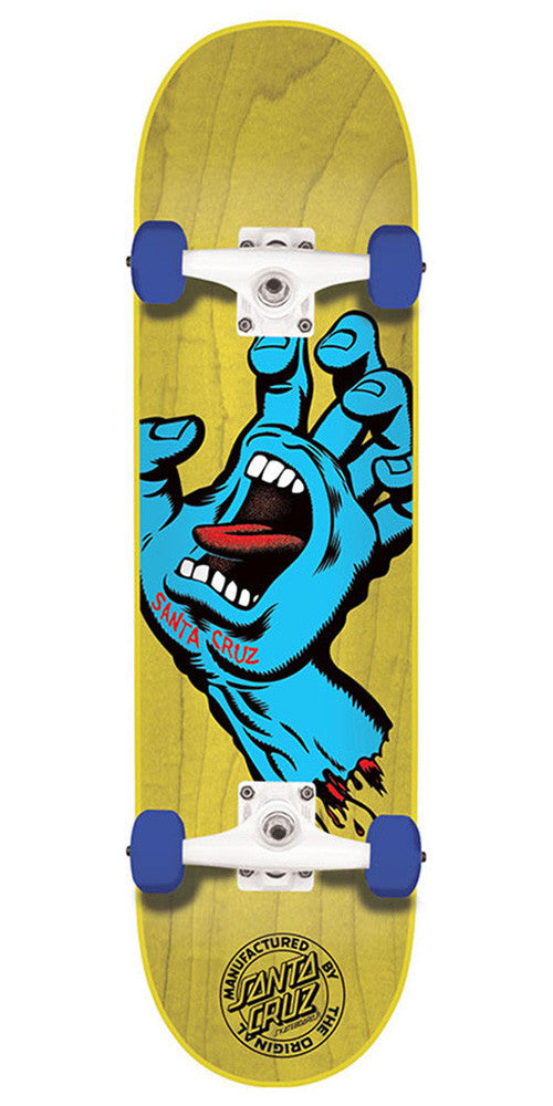 Santa Cruz Screaming Hand Regular Sk8 Complete Skateboard - Yellow - 7.5in x 30.6in