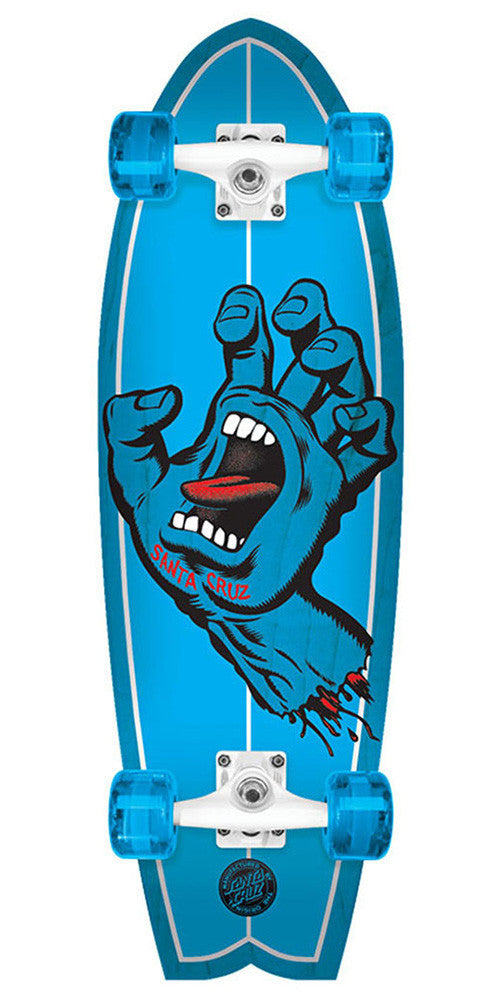 Santa Cruz Screaming Hand Shark Cruzer Complete Skateboard - Blue - 8.8in x 27.7in