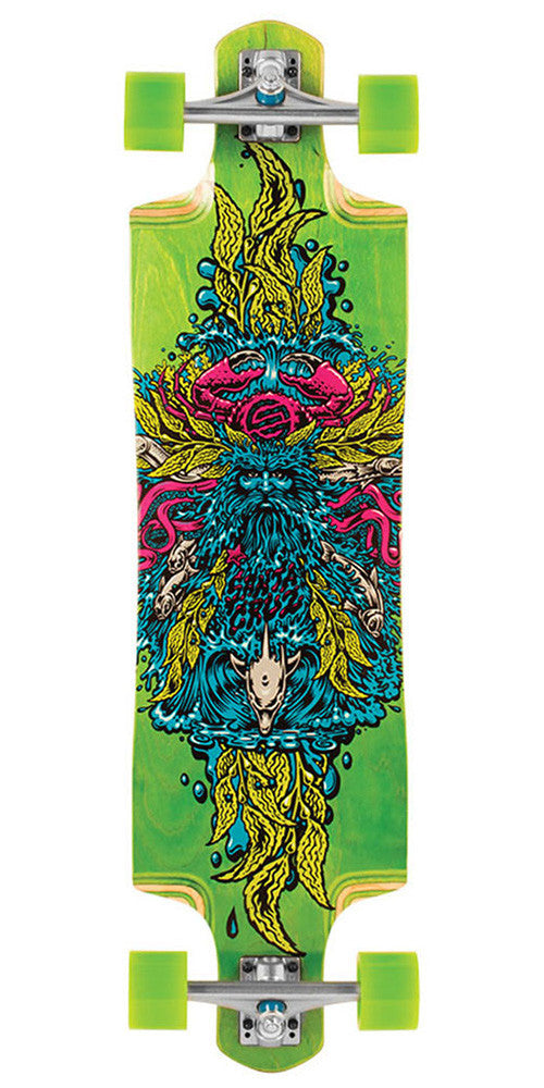 Santa Cruz Sea God Green Cruz Control Longboard Cruzer Complete Skateboard - Green - 9.96in x 37.97in
