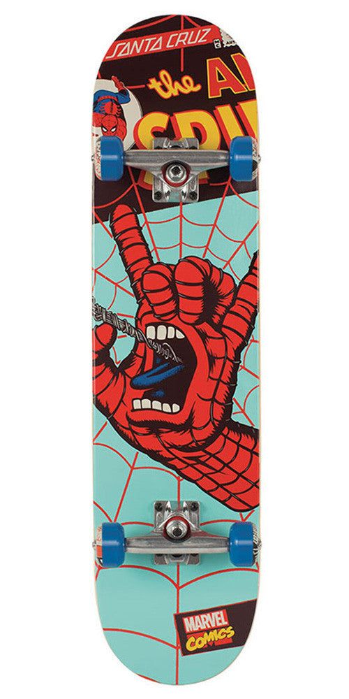 Santa Cruz Marvel Spiderman Hand Regular Sk8 Complete Skateboard - Teal - 7.8in x 31.7in