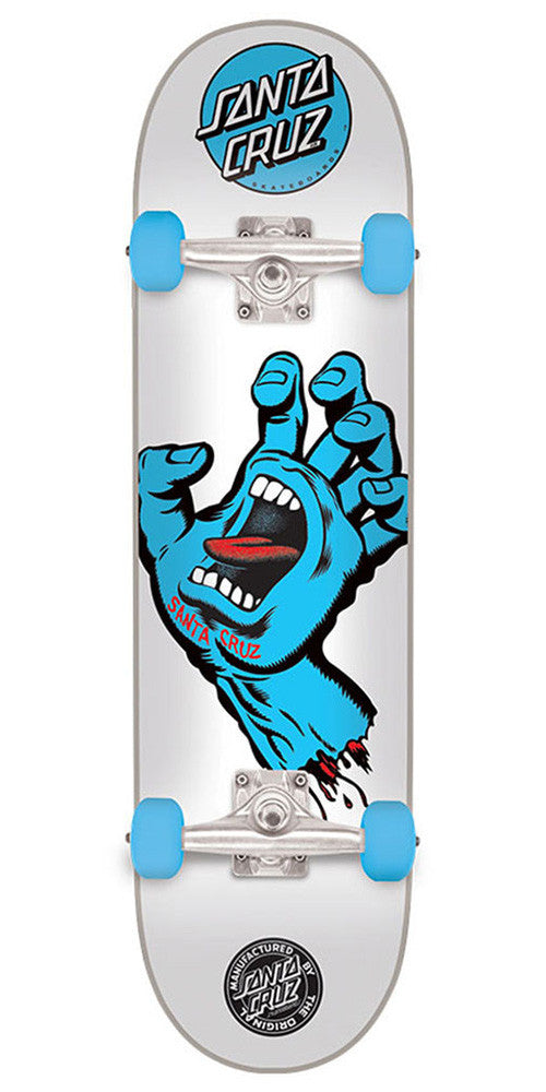 Santa Cruz Screaming Hand Regular Sk8 Complete Skateboard - White - 7.7in x 31.2in