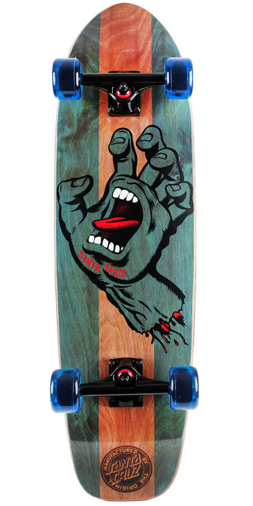 Santa Cruz Jammer Stained Hand Med Cruzer Complete Skateboard - Nature/Green - 9.22in x 33.0in