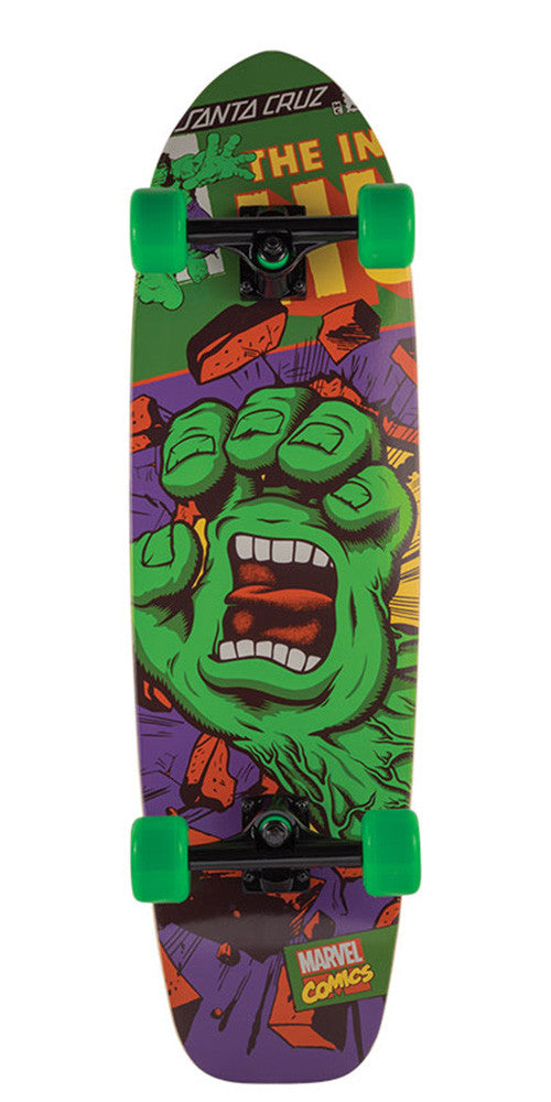 Santa Cruz Marvel Hulk Hand Cruzer Complete Skateboard - Green/Purple - 9.22in x 33.0in