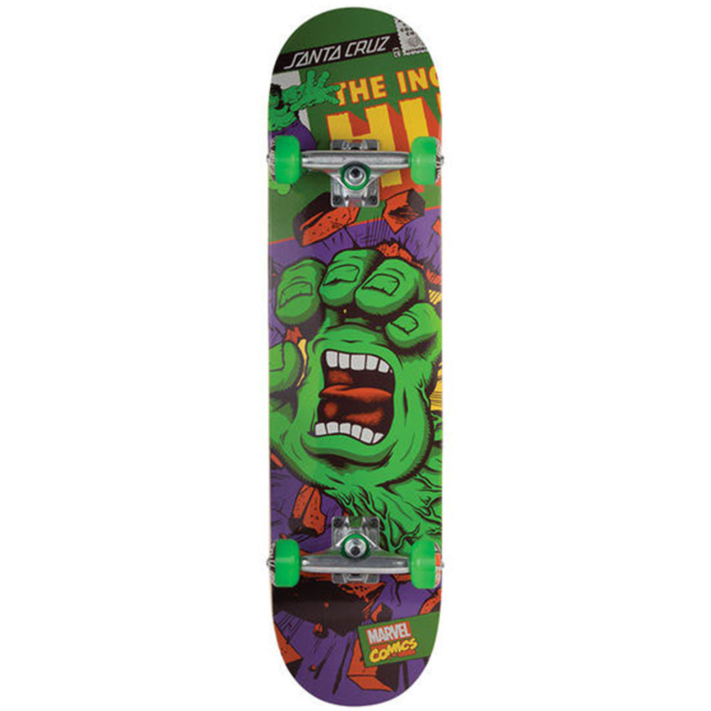 Santa Cruz Marvel Hulk Hand Regular Complete Skateboard - Green/Purple - 7.8in x 31.7in