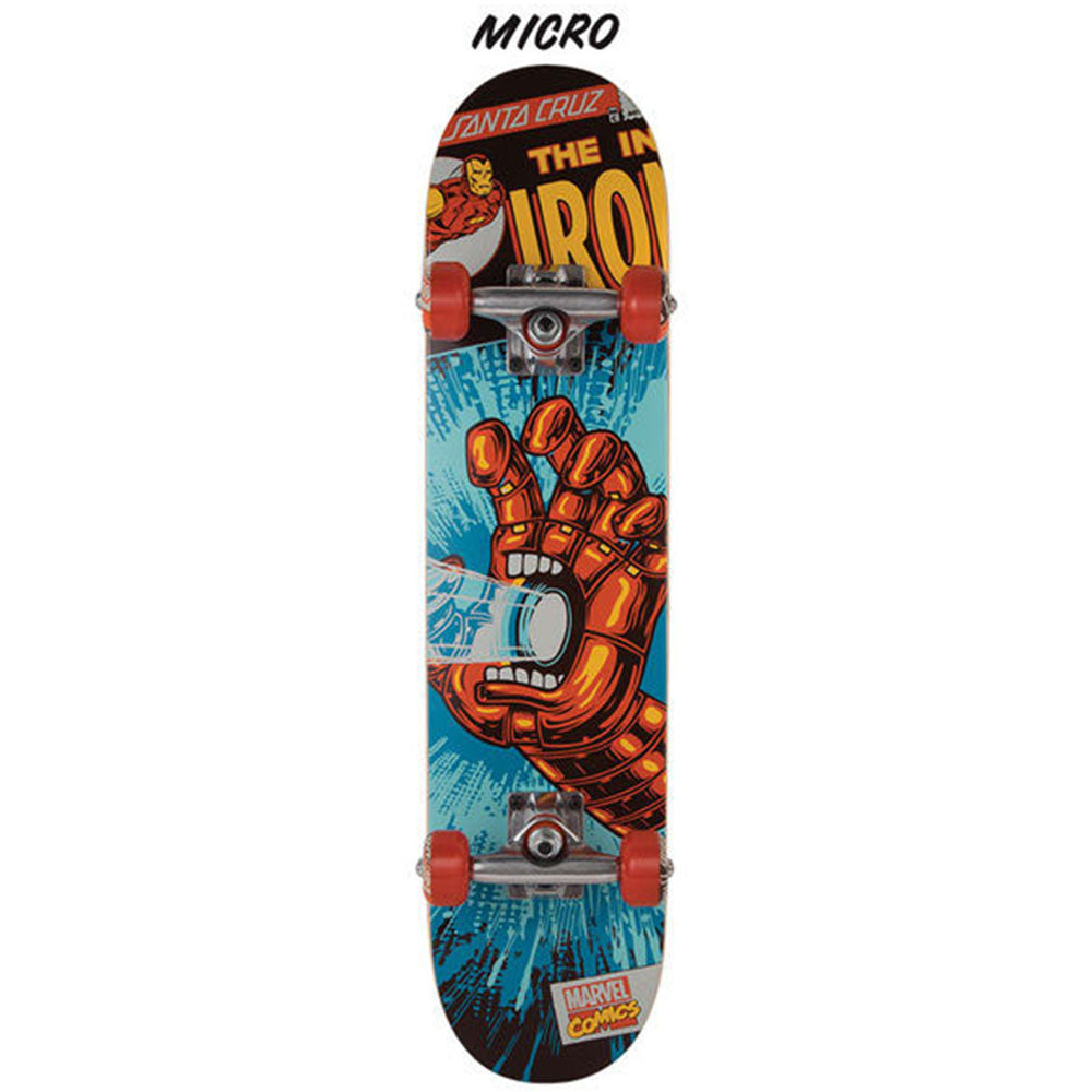 Santa Cruz Marvel Ironman Hand Micro Complete Skateboard - Blue/Red - 6.75in x 28.5in