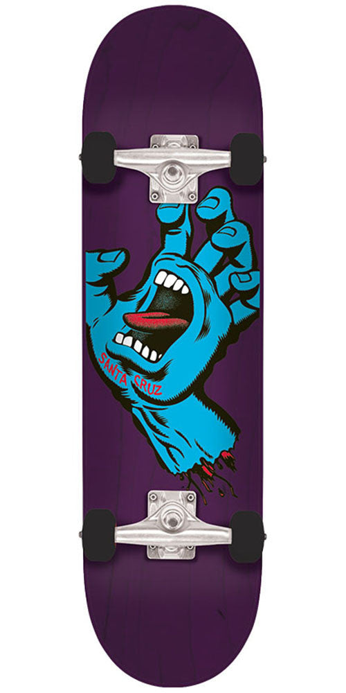 Santa Cruz Minimal Hand Regular Sk8 Complete Skateboard - Purple - 7.5in x 30.6in