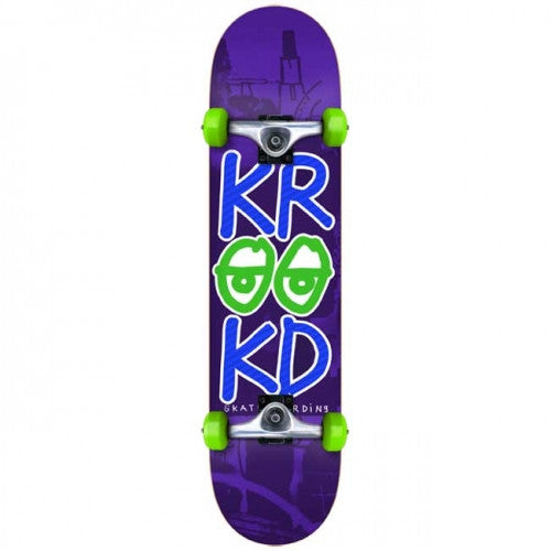 Krooked Stacked Eyes Mini Complete Skateboard - 7.3 - Purple